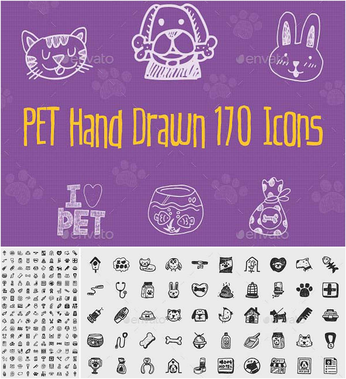 Pet hand drawn 170 icons