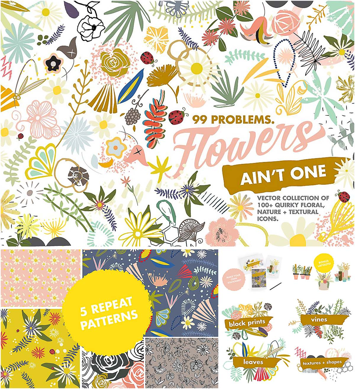 Floral clipart and patterns set