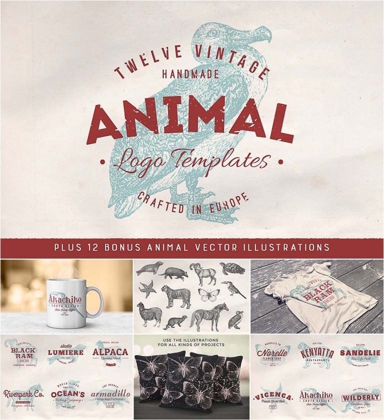 Vintage animal logo set