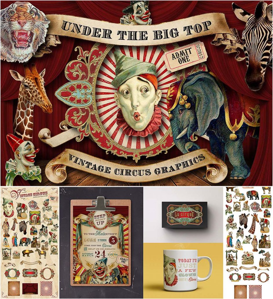 Vintage circus graphic illustrations   Free download