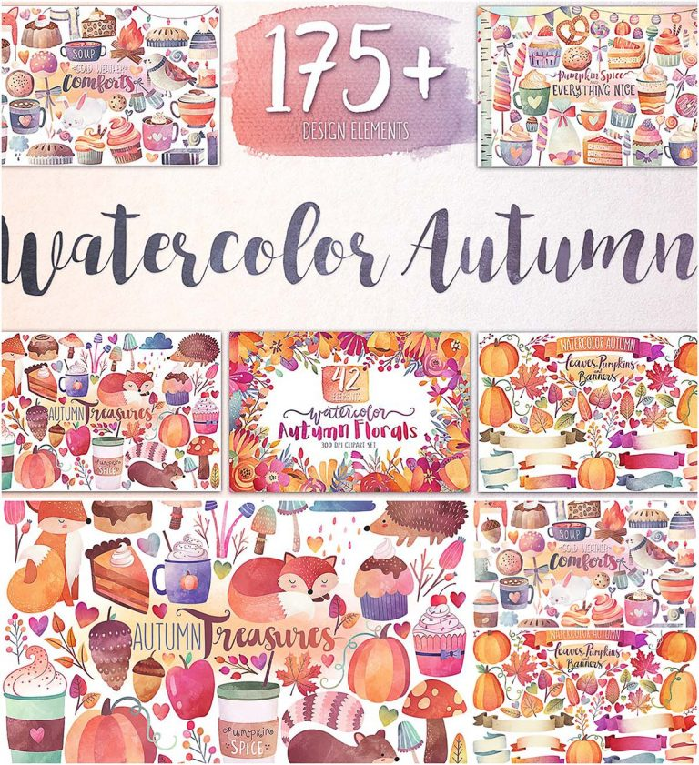 Watercolor autumn and winter illustrations