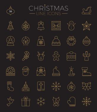 Christmas flat line icons