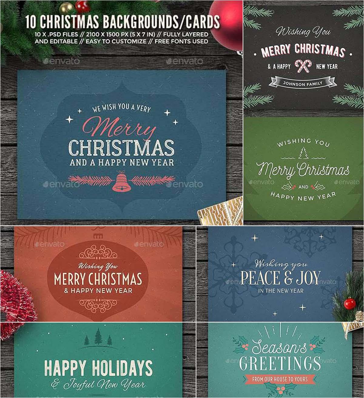 10 Christmas background cards set