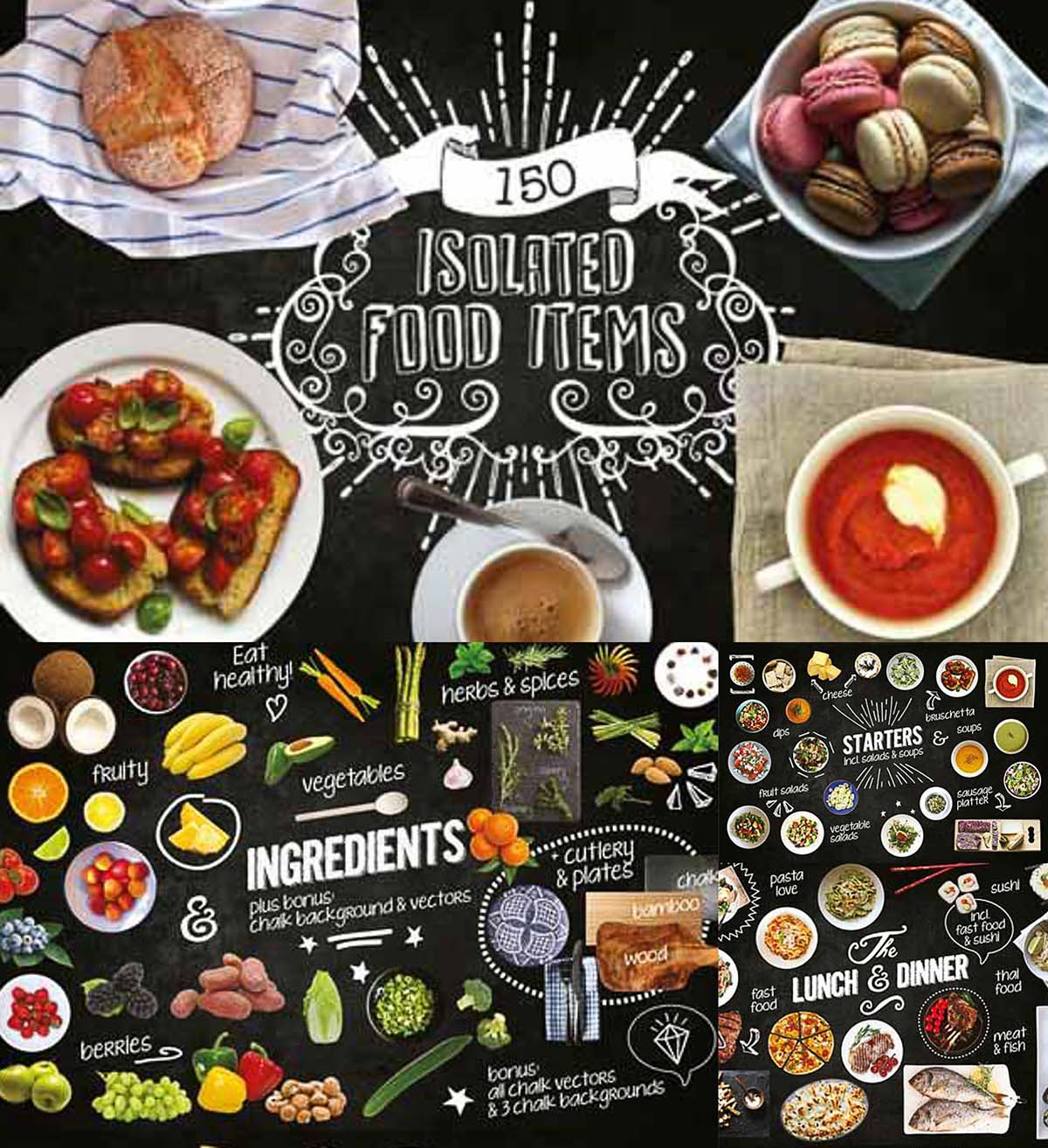 Isolated food chalkboard kit
