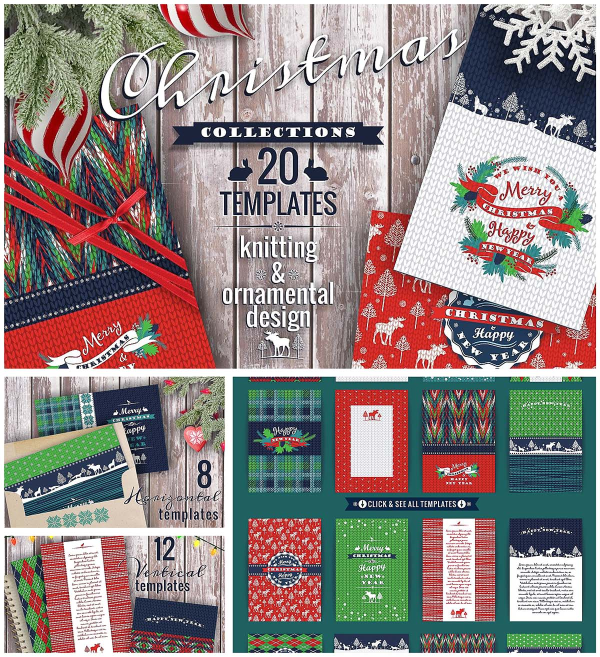 Christmas templates cards and patterns