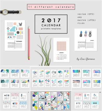 Abstract calendars vector set