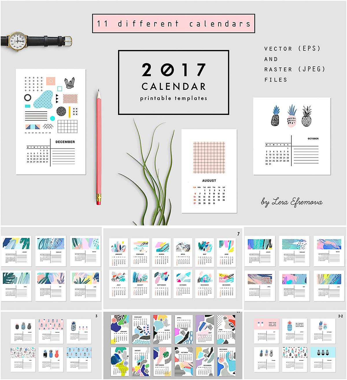 Abstract calendars vector set