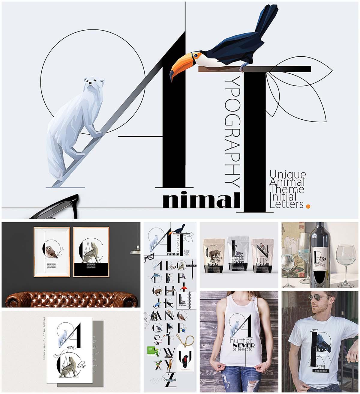 Animal illustration typography