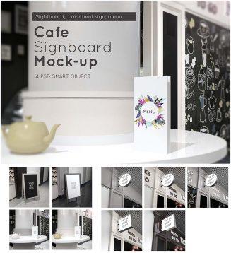 Cafe signboard mock-up