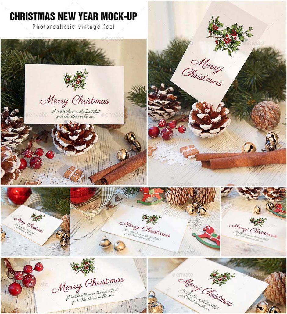 christmas card mockup set