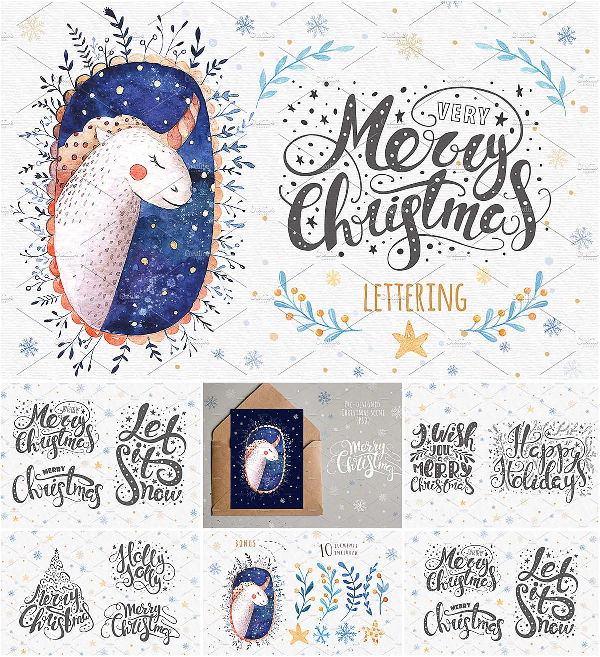 Christmas lettering and elements set | Free download