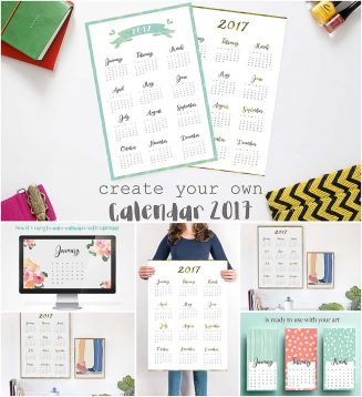 Create personal 2017 calendar year month
