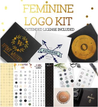 Feminine logo creation kit
