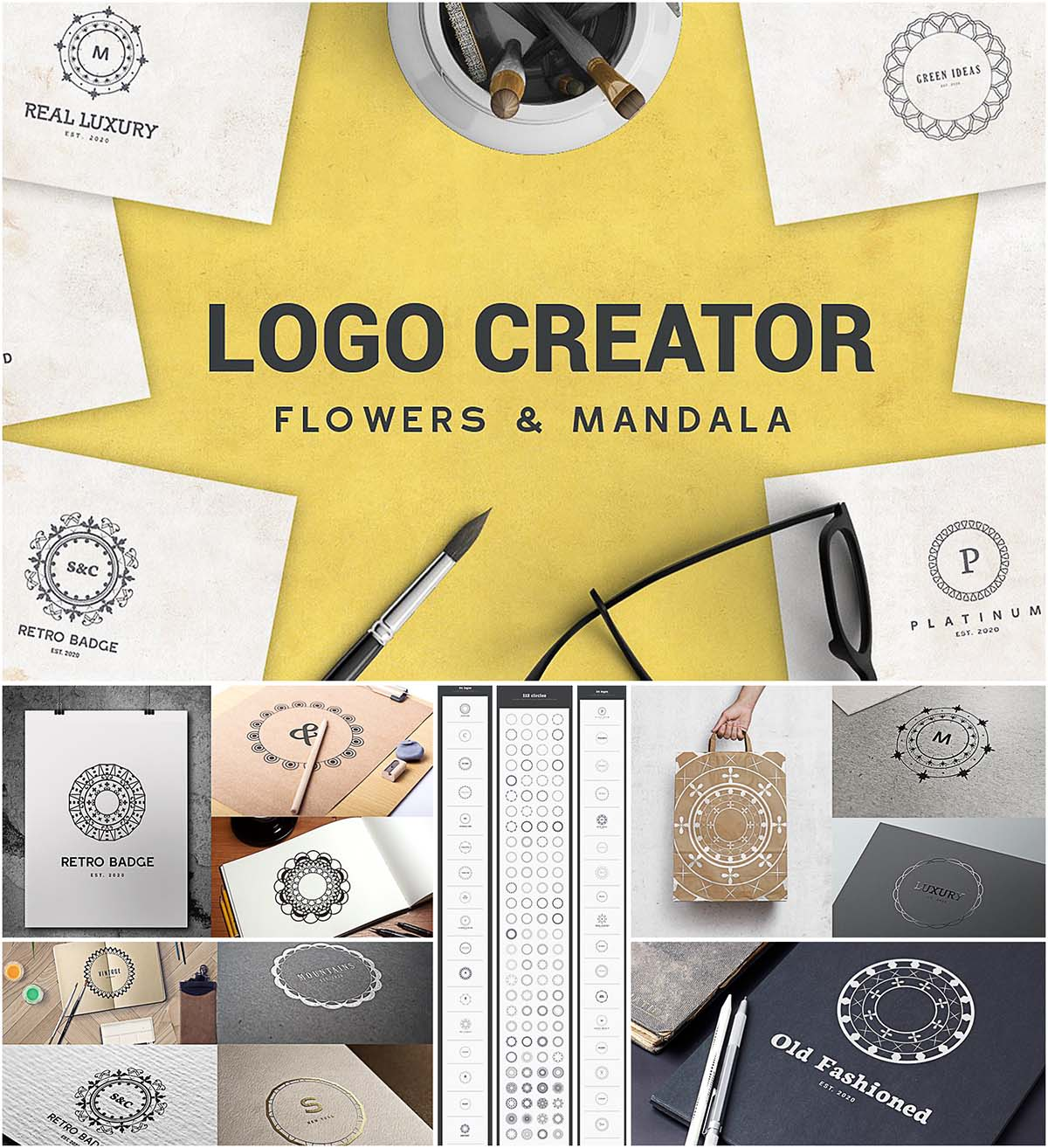 Logo creator flowers and mandala