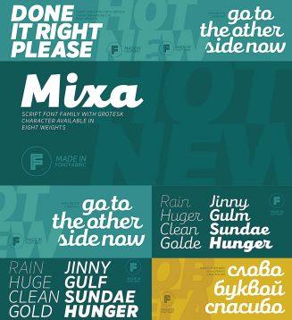 Mixa script with cyrillic typeface