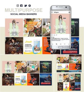 Multipurpose social media banners set