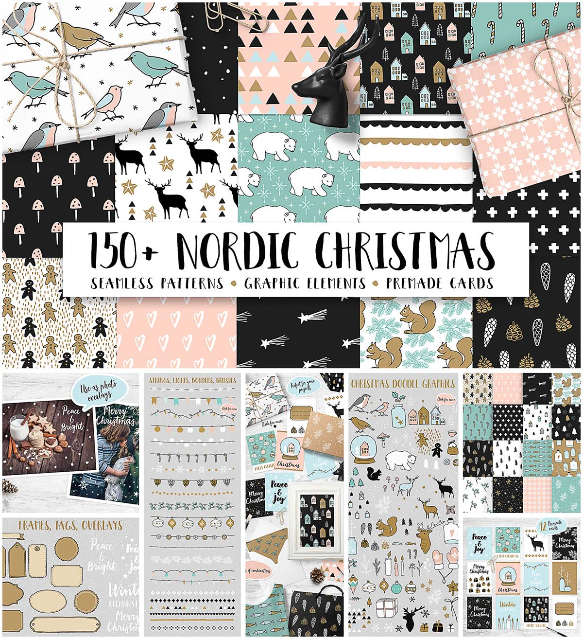 Nordic Christmas seamless patterns and elements