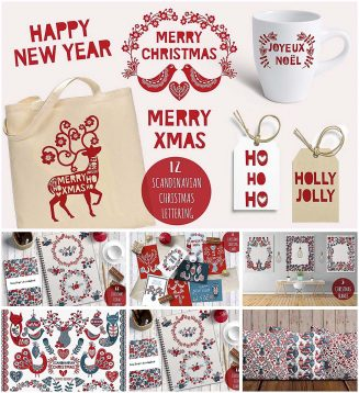 Scandinavian Christmas patterns and elements set
