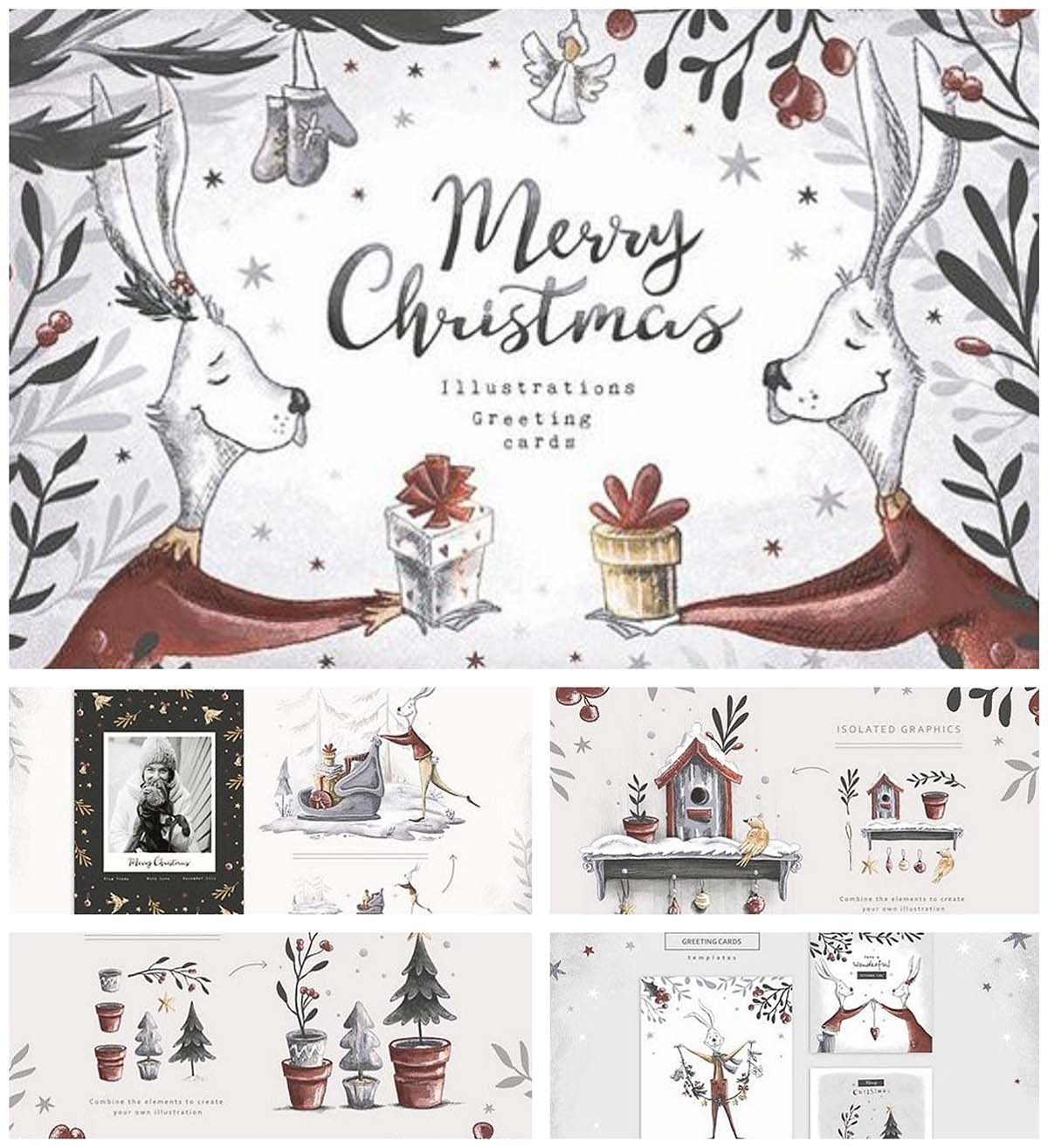 Christmas illustrations and pattern cute collection