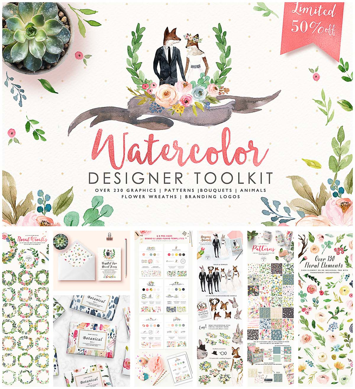 Hand drawn watercolor designer toolkit