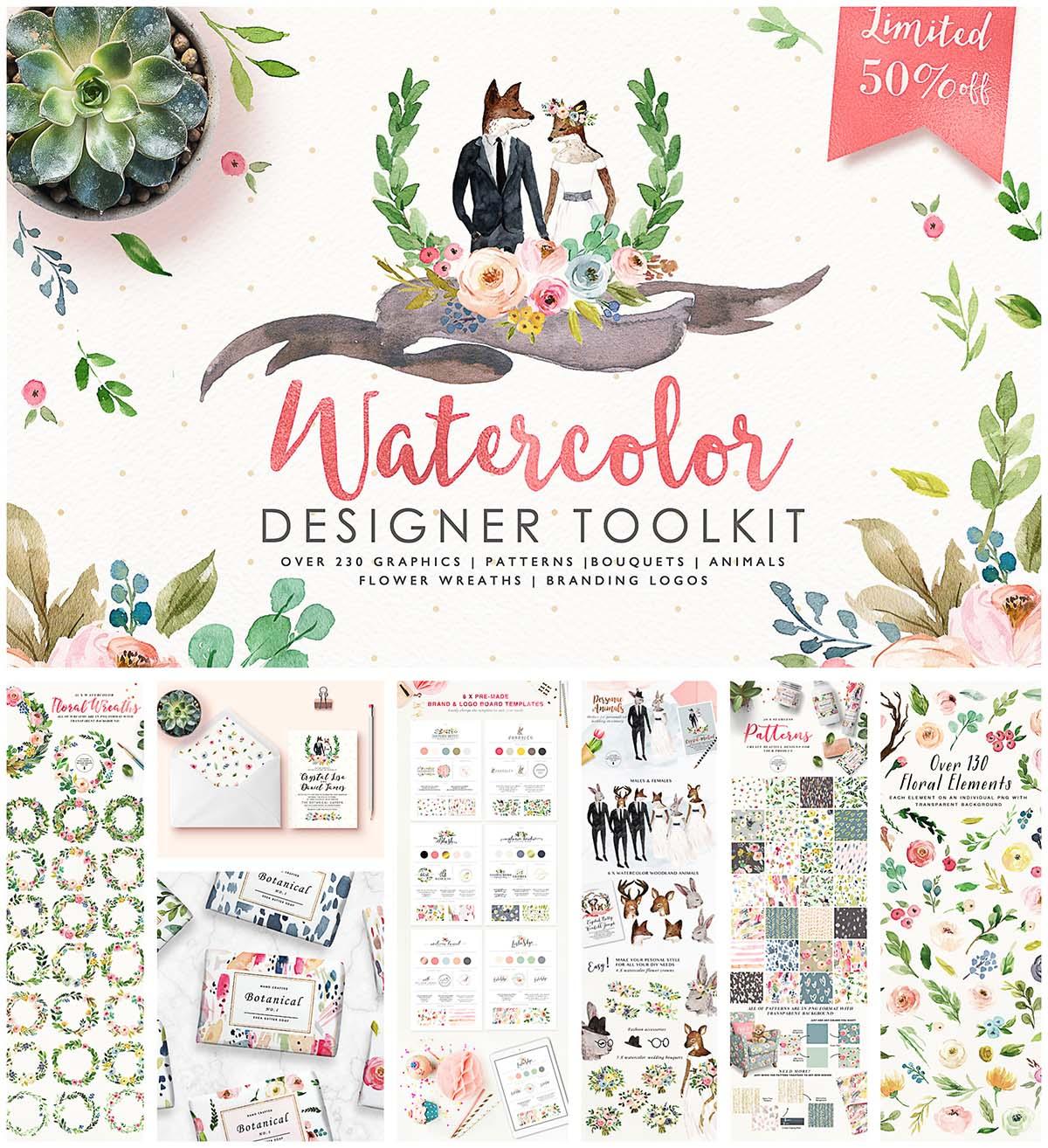 Hand drawn watercolor designer toolkit