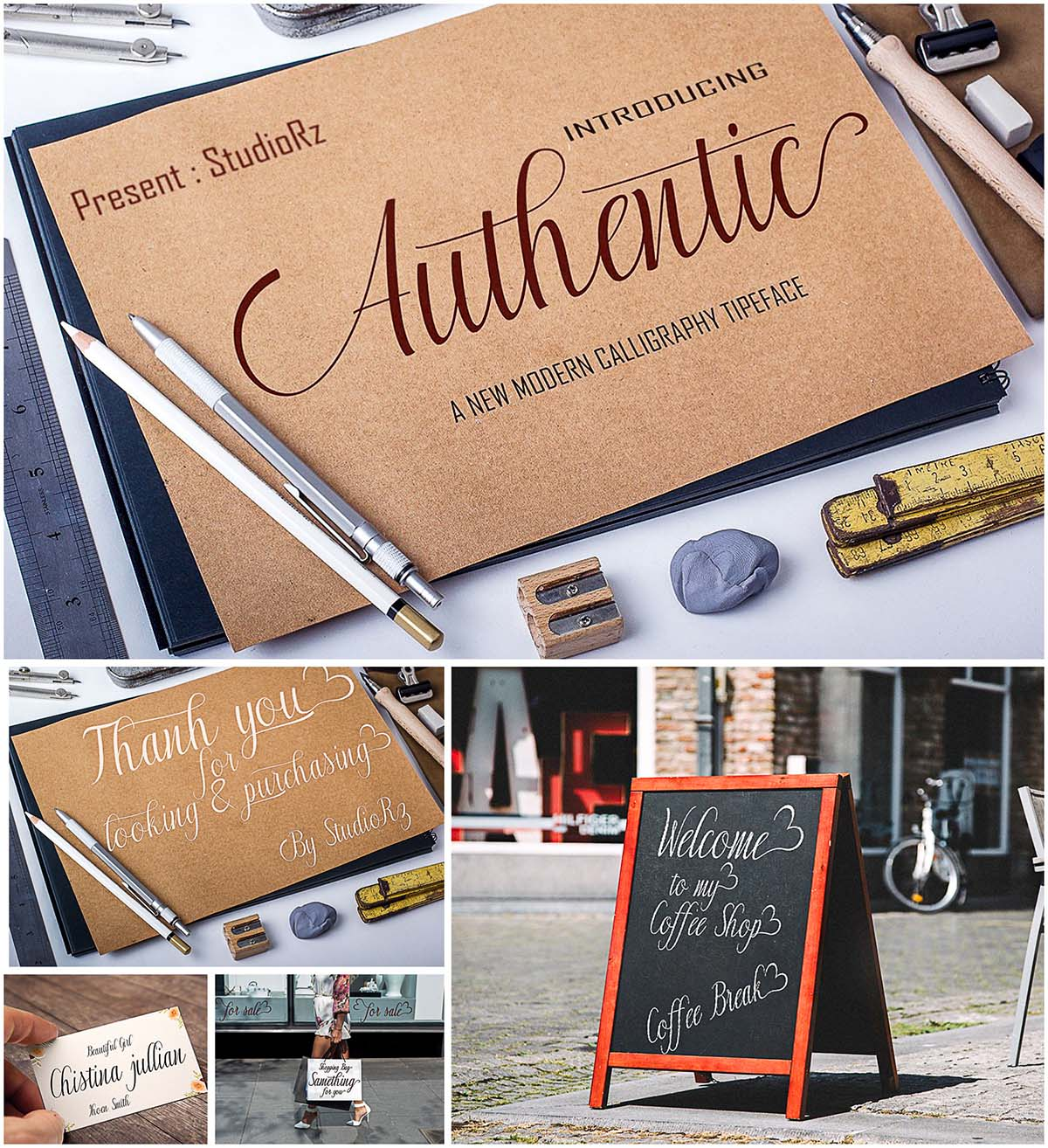 Authentic handlettered font