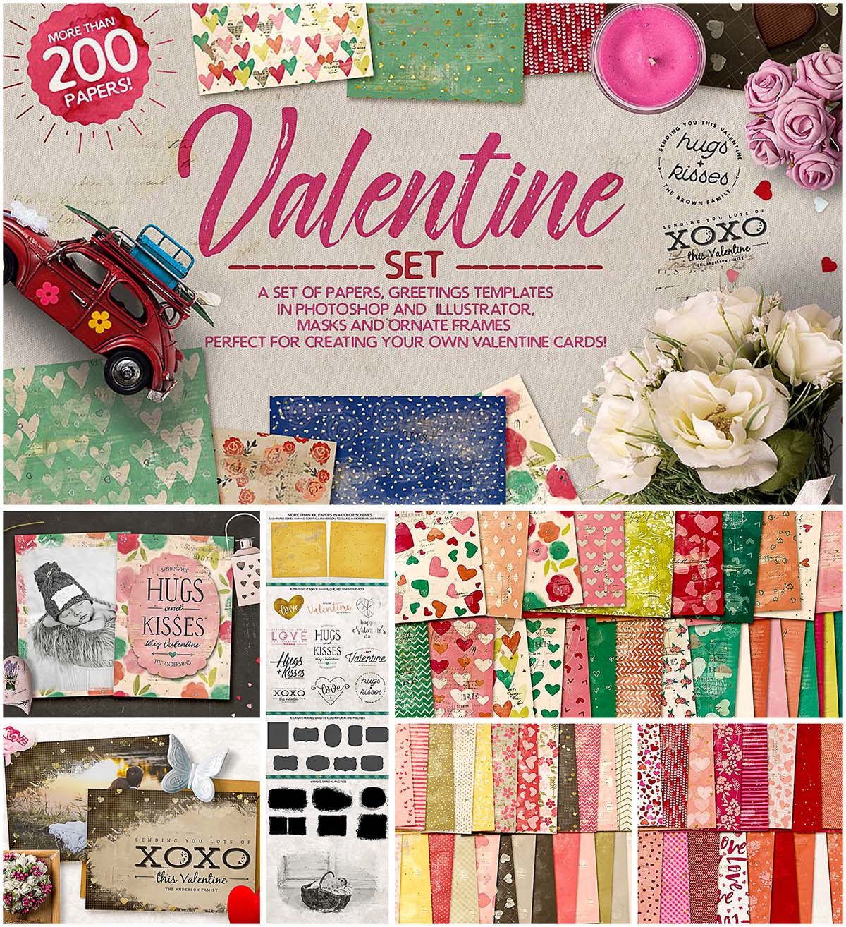 Valentine's Day patterns and elements bundle