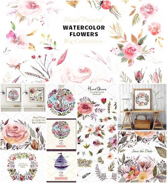 Huge watercolor floral illustrations collection