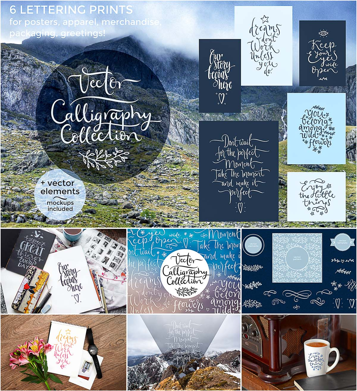Calligraphy set with mockups and overlays
