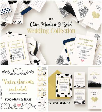 Modern and chic wedding invitation suite
