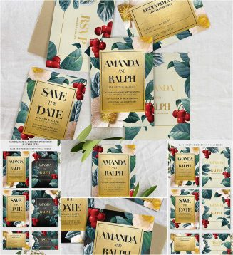 Floral gold wedding invitation set