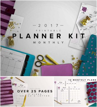 2017 monthly free planner with dividers