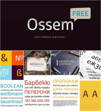 Ossem typeface in 4 styles