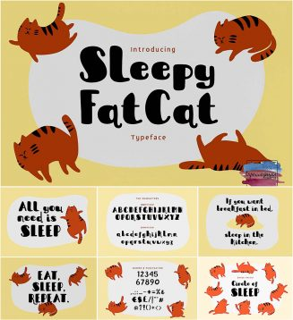 Sleepy Fat Cat font with cyrillic typeface
