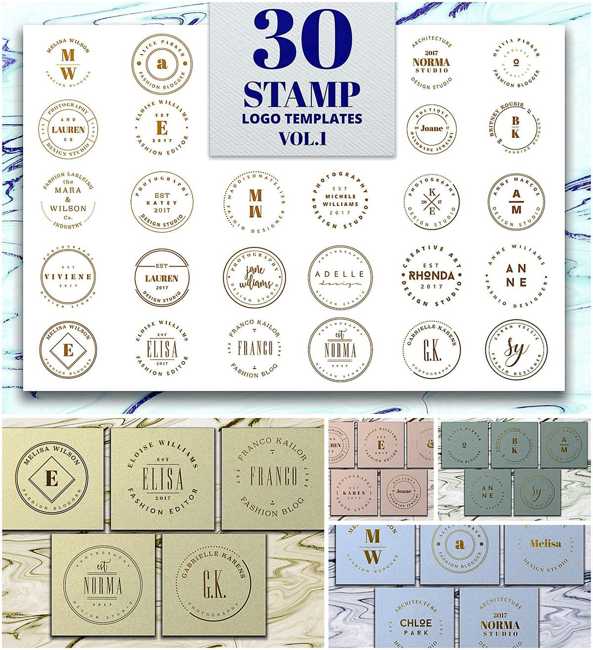 30 stamp logo templates
