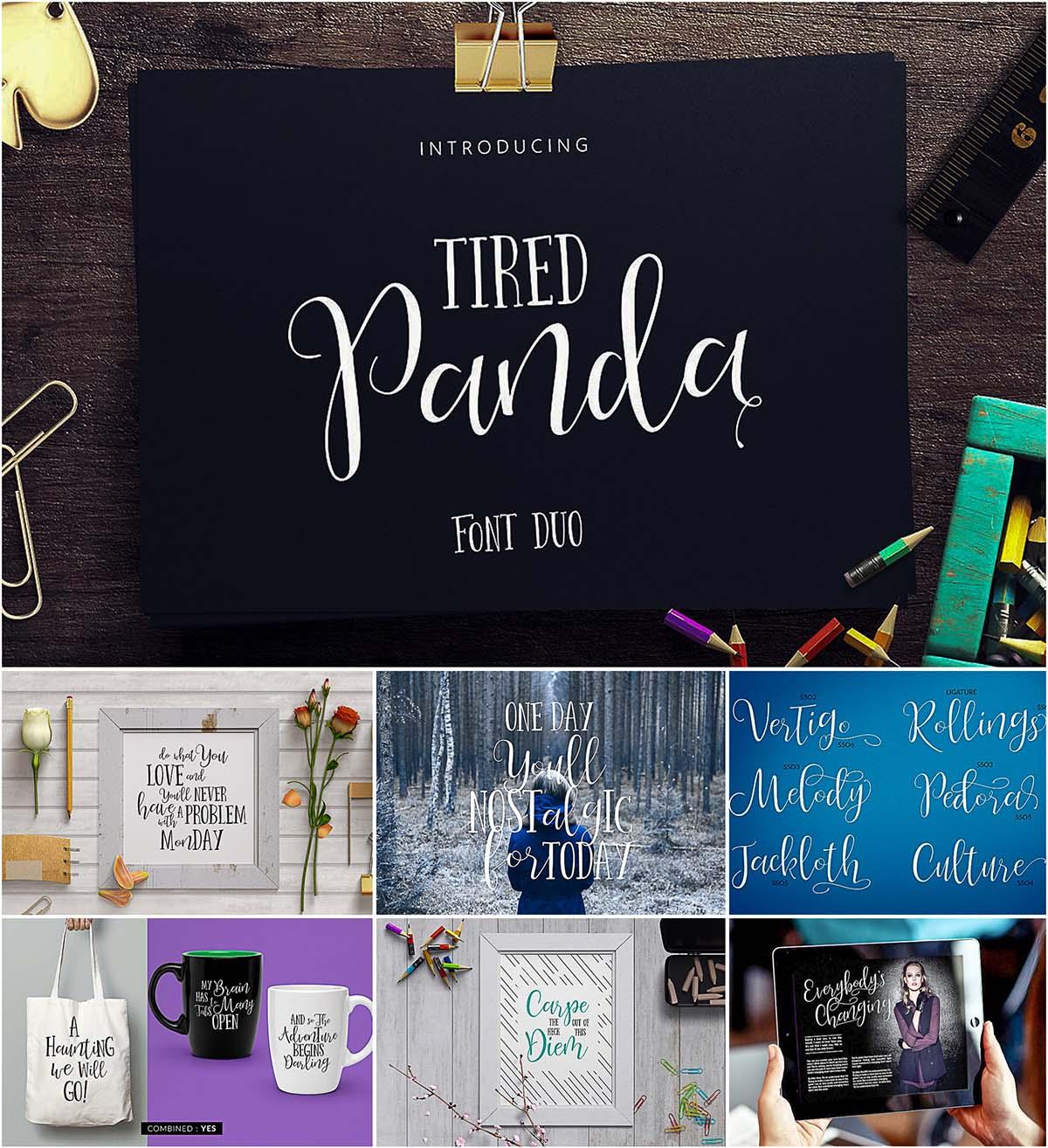 Tired panda font