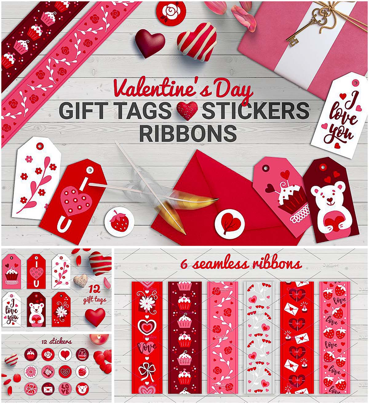 Valentine's Day stickers tags and ribbons set