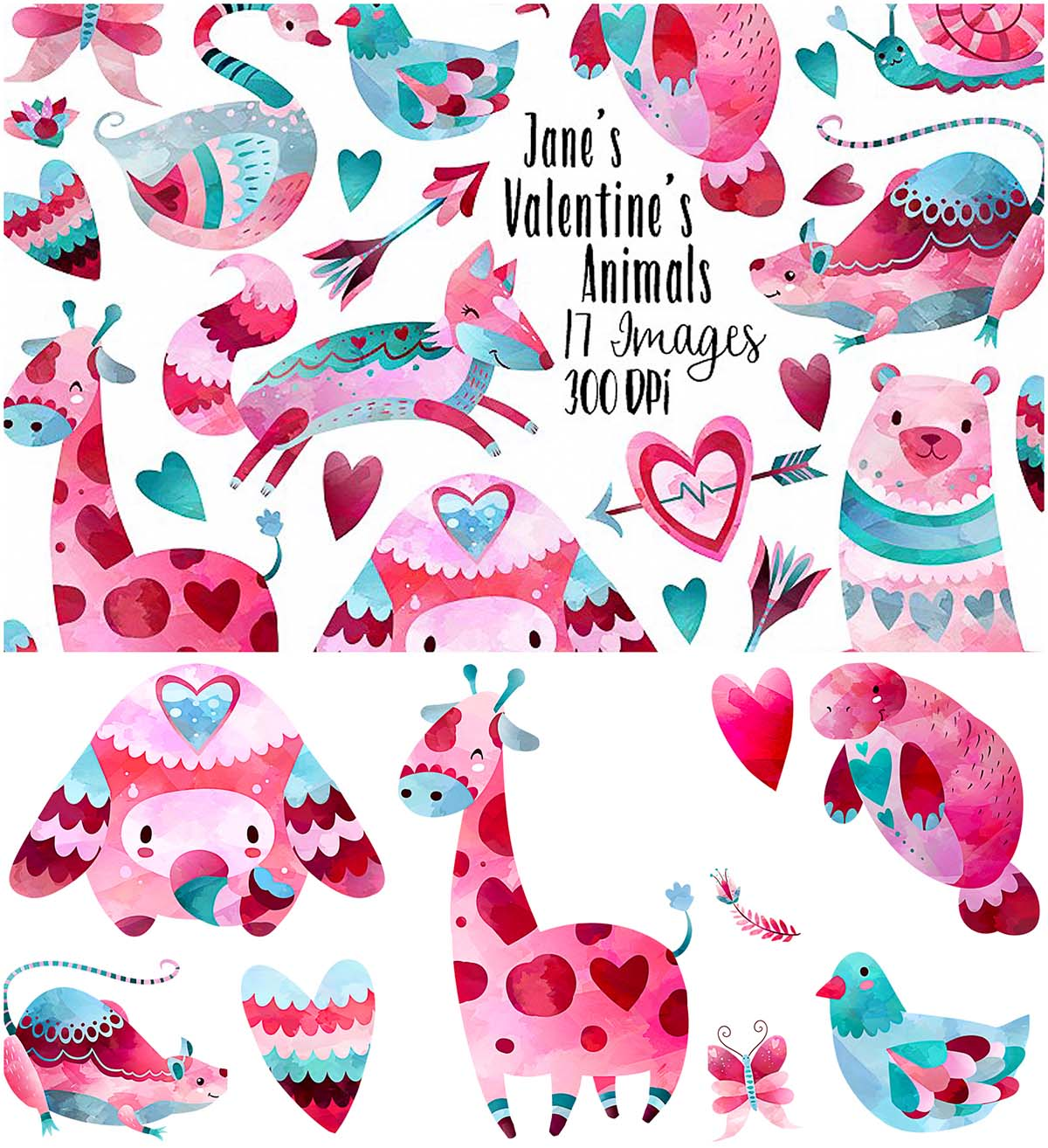 Valentines day animals clipart set | Free download