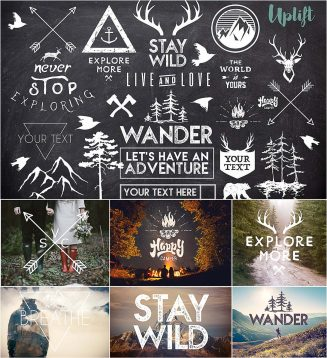 Wanderlust hipster overlays and illustrations
