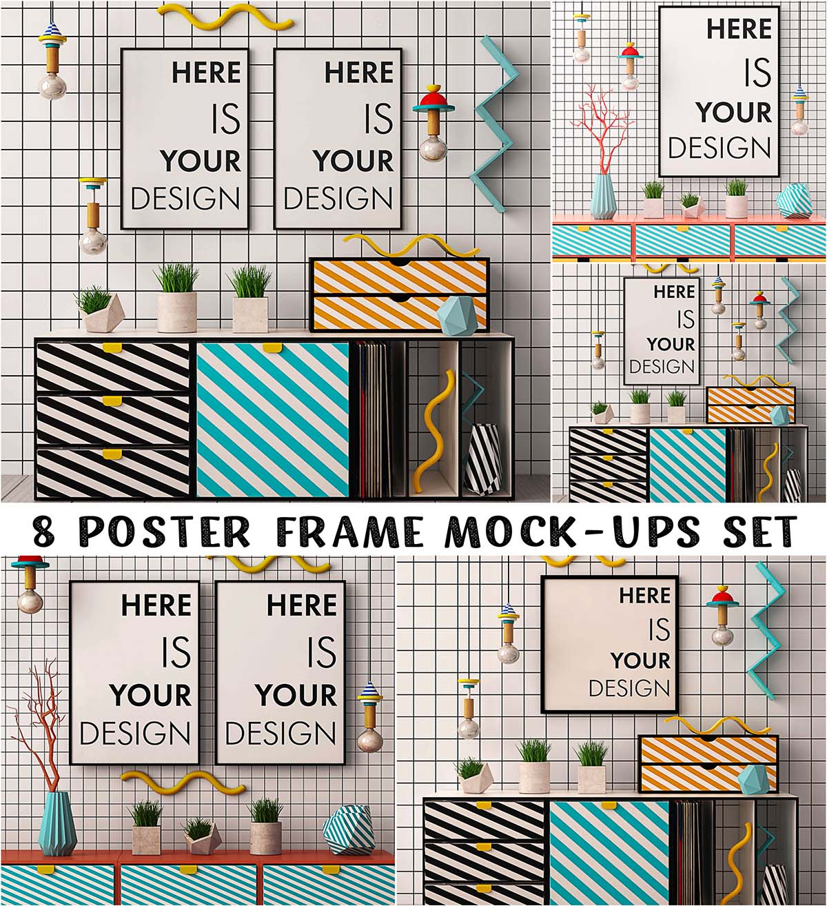 Mockups posters memphis style