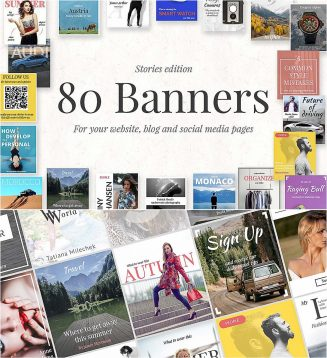 80 banners social media set