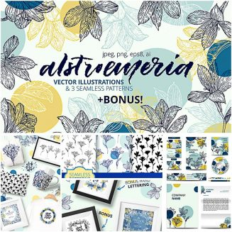 Alstroemeria floral cliparts and patterns set