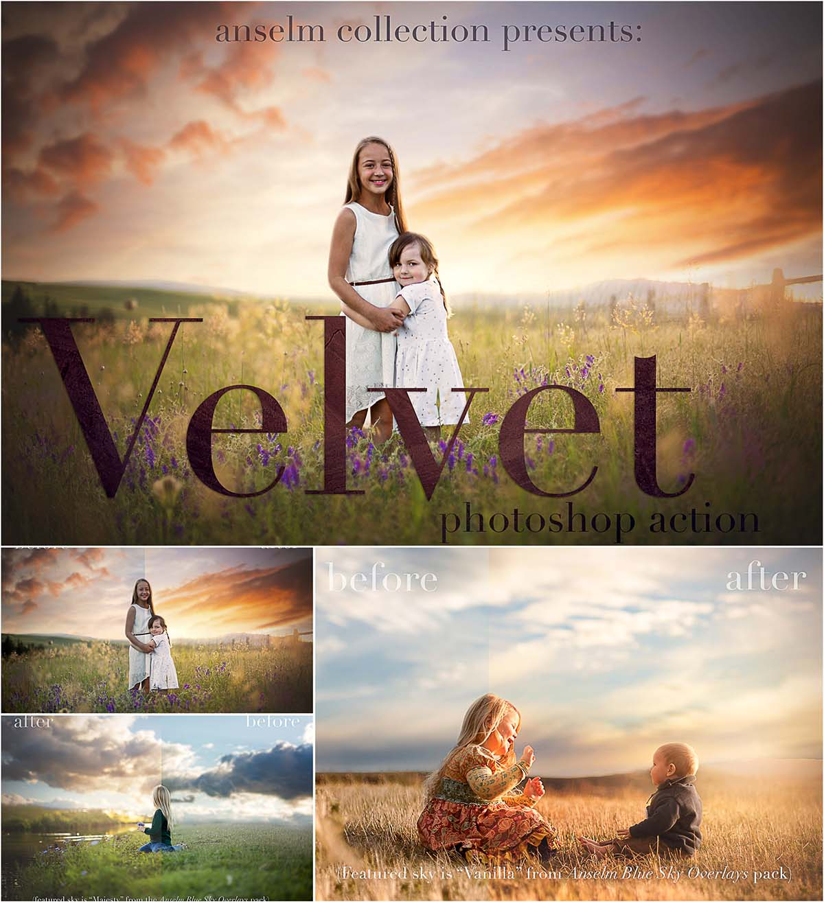 Velvet portrait ps action set