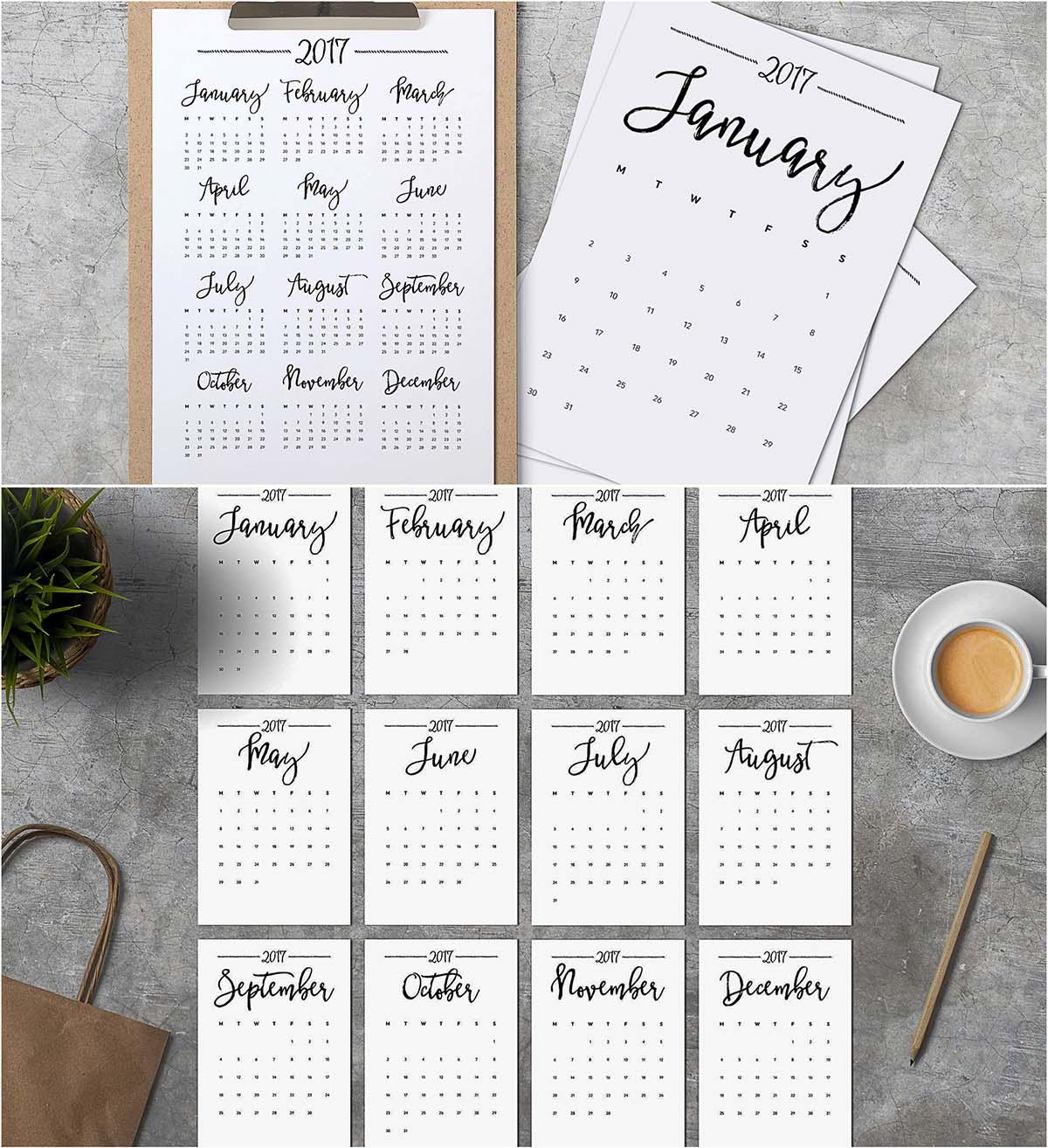 Minimalistic calendar 2017 printable