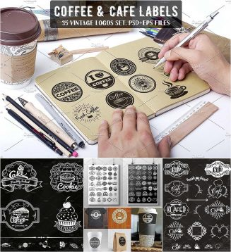 Coffee bakery logo set