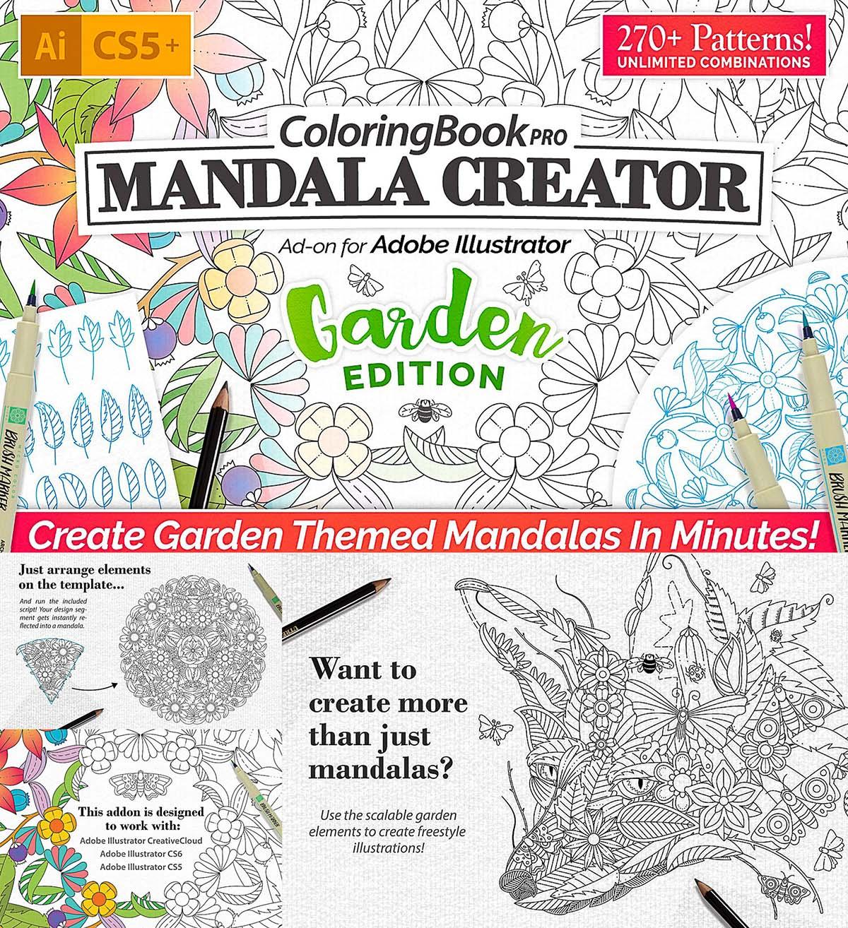 Coloring book mandala creator garden edition