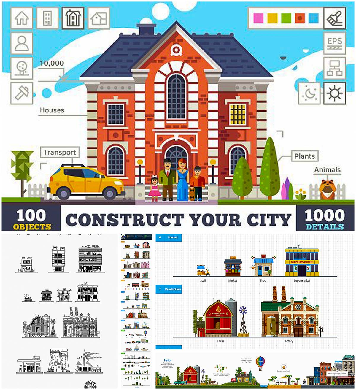 Construct your own city vector kit