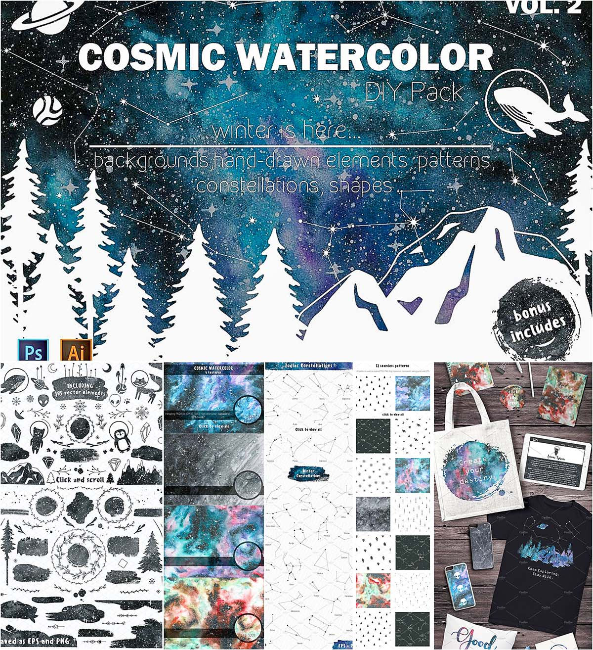 Cosmic watercolor backgrounds with bonus