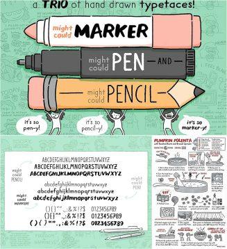 Drawing tools trio fonts marker pen pencil