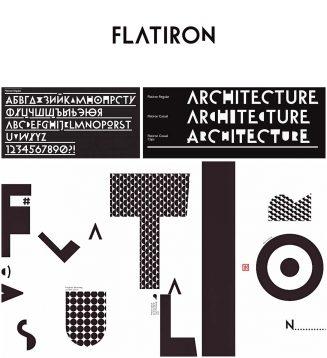 Flatiron geometric cyrillic font
